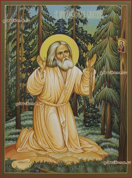 Моление на камне Серафима Саровского, икона артикул 6170