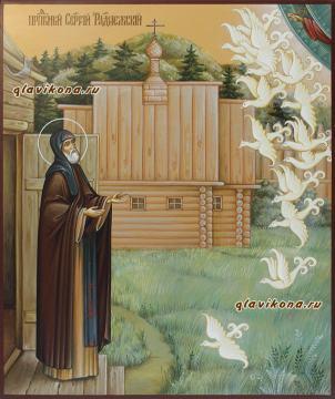 Чудо о птицах Сергия Радонежского, икона писаная