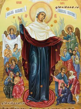 Всех скорбящих Радость, рукописная икона артикул 5294, вид вблизи