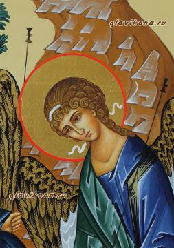 Писаная икона Святой Троицы, артикул 901, детали (слева)
