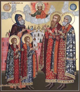 Благоверные князья Ярославские, писаная икона артикул 440