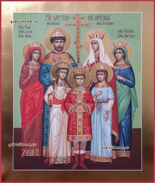 Царственные страстотерпцы, писаная икона с золочением