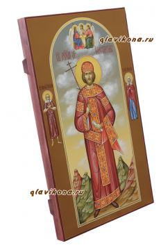 Святой царь Константин, писаная мерная икона - вид сбоку