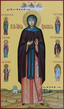 Преподобная Мария Радонежская, мерная икона с предстоящими