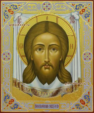 Писаная икона Спаса Нерукотворного с чеказной ки золотом, артикул 603