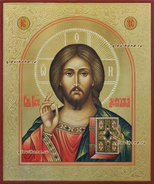 Рукописная икона Спасителя с золочением и чеканкой, артикул 618