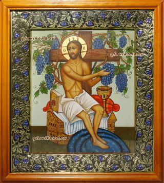 Христос Виноградная лоза, артикул 620 - вариант оформления иконы в киот