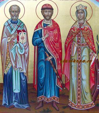 Писаная семейная икона с Покровом и Ангелами, артикул 4004 - лики святых