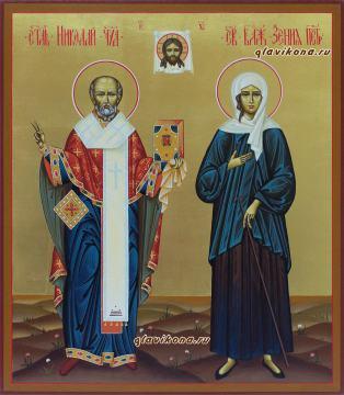 Писаная икона с двумя святыми, на золоте, артикул 4006