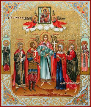 Семейная икона с четырьмя святыми с резьбой и узорами, артикул 4007