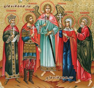 Семейная икона с четырьмя святыми с резьбой и узорами, артикул 4007 - лики святых
