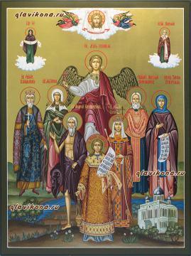 Икона с 7-ю святыми, артикул 4011 - один из вариантов написания (с другими святыми)