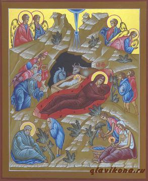 Писаная икона Рождества Христова, артикул 410