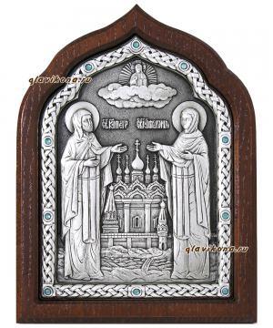 Петр и Феврония, серебряная икона с голубыми стразами, артикул 11167