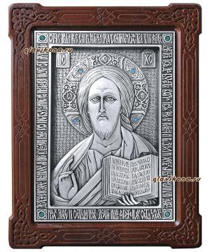 Серебряная икона Спасителя со стразами, артикул 11179