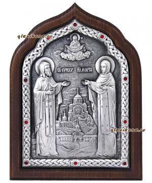 Серебряная икона Кирилла и Марии с красными стразами, артикул 11181
