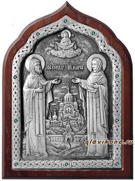 Серебряная икона Кирилла и Марии с зелеными стразами, артикул 11181