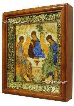 Троица Пресвятая, икона на холсте в широком киоте - вид сбоку