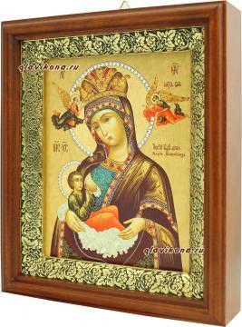 Млекопитательница Божия Матерь, икона на холсте в широком киоте - вид сбоку