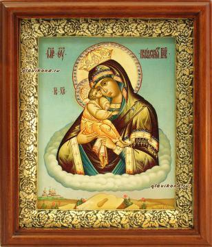 """Икона """"Почаевская, печатная на холсте в деревянном киоте"""