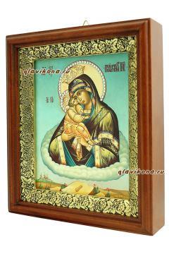 Почаевская Божия Матерь, икона на холсте в широком киоте - вид сбоку