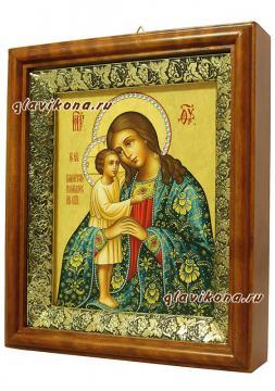 Взыскание погибших Божия Матерь (с узорами), икона на холсте в широком киоте - вид сбоку