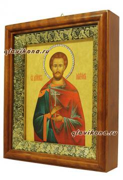 Максим Антиохийский, икона на холсте в широком киоте - вид сбоку