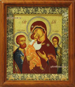 Трех Радостей Божия Матерь, икона на холсте в широком киоте