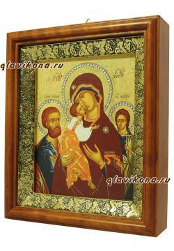 Трех Радостей Божия Матерь, икона на холсте в широком киоте - вид сбоку