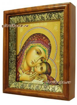 Корсунская Божия Матерь, икона на холсте в широком киоте - вид сбоку
