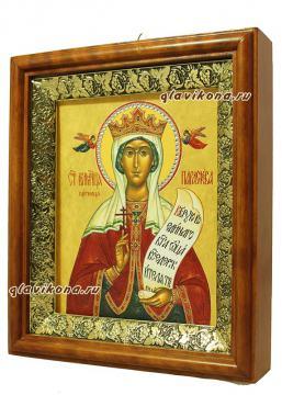 Параскева Пятница, икона на холсте в широком киоте - вид сбоку