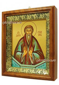 Даниил Столпник, печатная икона на холсте - вид сбоку