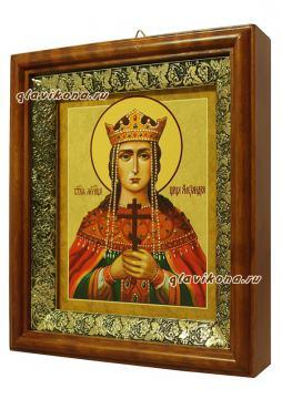 Александра царица, икона на холсте в широком киоте - вид сбоку