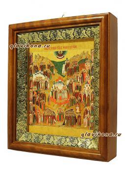 Собор всех святых земли Русской, икона на холсте в широком киоте - вид сбоку
