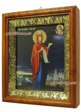Боголюбская Божия Матерь, икона на холсте в широком киоте - вид сбоку