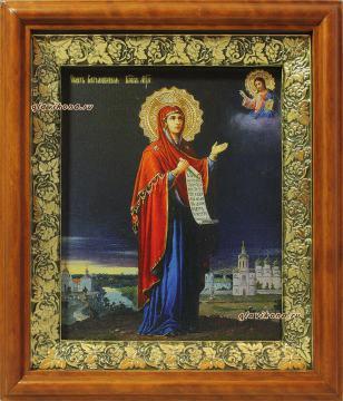 Боголюбская Божия Матерь, икона на холсте в широком киоте