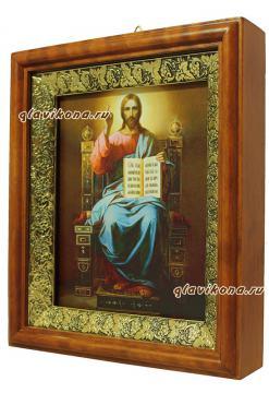 Господь на троне, икона на холсте в широком киоте - вид сбоку