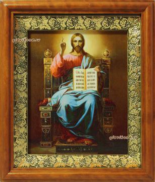 Господь на троне, икона на холсте в широком киоте