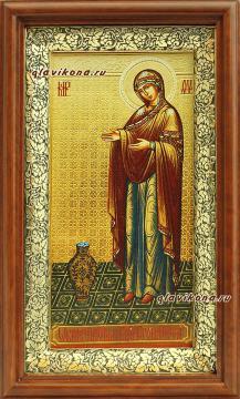 Икона, печатная на холсте, в киоте с образом Богордицы Геронтисса