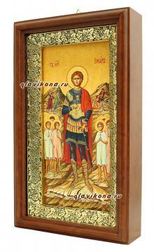 Икона на холсте в киоте святого мученика Уара - вид сбоку