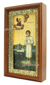 Икона в киоте праведного Артемия Веркольского - вид сбоку