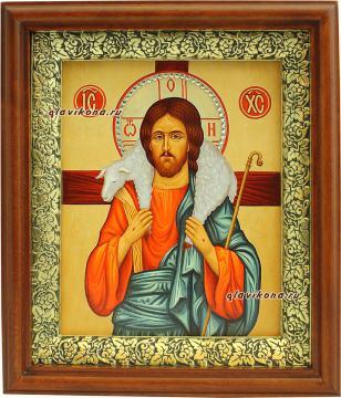 Добрый Пастырь, икона на холсте в широком киоте