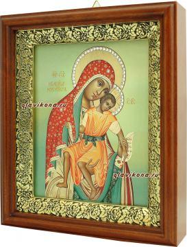 Милостивая Киккская Божия Матерь, икона на холсте в широком киоте - вид сбоку