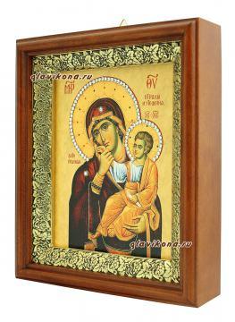 Отрада и Утешение Божия Матерь, икона на холсте в широком киоте - вид сбоку