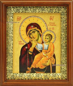 Отрада и Утешение Божия Матерь, икона на холсте в широком киоте