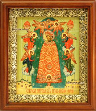 Прибавление Ума Божия Матерь, икона на холсте в широком киоте