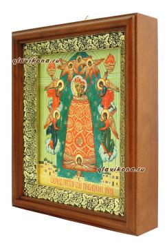 Прибавление Ума Божия Матерь, икона на холсте в широком киоте - вид сбоку