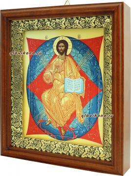 Спас в Силах, икона на холсте в широком киоте - вид сбоку