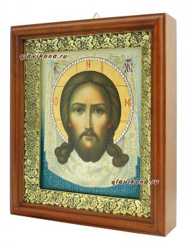Спас Нерукотворный (живописный), икона на холсте в широком киоте - вид сбоку