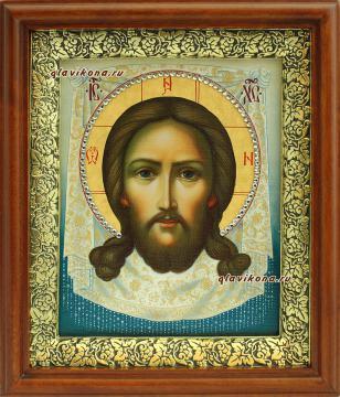 Спас Нерукотворный (живописный), икона на холсте в широком киоте